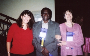 Gina Riley (left) with John Nkemnji and Rea Kirk, with whom she has attended every Convocation.