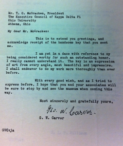Letter found in the Kappa Delta Pi archives from George Washington Carver.