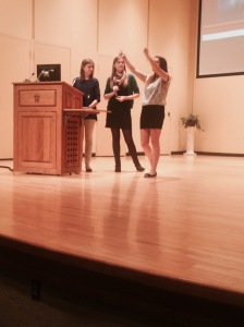 "Jenna Gannon, Shana Brown, and Tawney Johnson's keynote presentation, ""Challenge Accepted: Teaching in China."""
